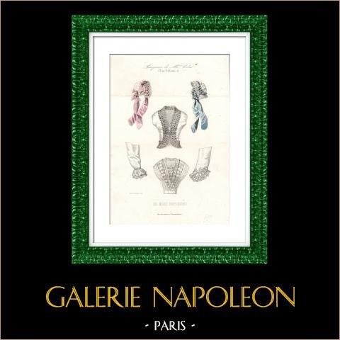 Grabado de Moda Francesa - Siglo 19 - 1850 - Lingerie - Lencería - Les Modes Parisiennes | Original acero grabado. Anónimo. Coloreado a mano de epoca. 1850