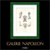 Grabado de Moda Francesa - Siglo 19 - 1850 - Lingerie - Lencería - Les Modes Parisiennes