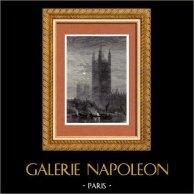 Veduta di Londra - Inghilterra - Gran Bretagna - Regno Unito - Victoria Tower - Palazzo di Westminster | Incisione xilografica originale disegnata da W. May. 1882