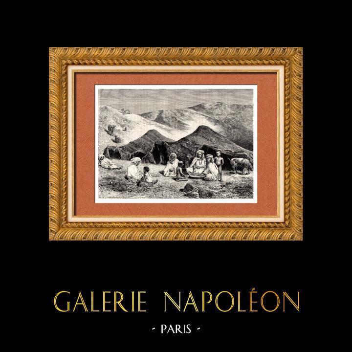 Gravures Anciennes & Dessins | Afrique du Nord - Campement Berbère - Imazighen - Arabe | Gravure sur bois | 1882