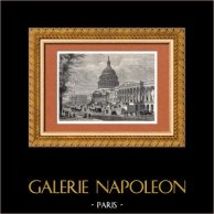 Vue de Washington (États-Unis d'Amérique) - Le Capitole - Néoclassicisme | Gravure sur bois originale dessinée par A. Deroy. 1882