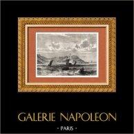 Vue du bourg du Cap Tiburon (Haïti) - Grandes Antilles | Gravure sur bois originale dessinée par Th. Weber. 1882