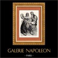 Patagonie (Amérique du Sud) - Argentine - Chili - Danseurs   Gravure sur bois originale dessinée par Castelli. 1882