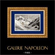 Alpes - Nieve (Francia) | Original grabado en madera (xilografía). Anónimo. 1881