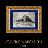 Mont Saint-Michel (Francia) | Incisione xilografica originale disegnata da Taylor, incisa da C. Laplante. 1881