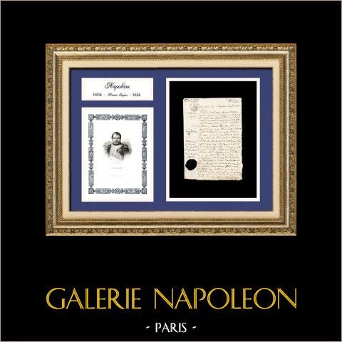 Documento Storico - Regno di Napoleone I - 1808 - Primo Impero Francese | Documento manoscritto datato del 2 maggio 1808 ed Ritratto di Napoleone, incisione su acciaio originale disegnata da Louis Adolphe Salmon en 1838