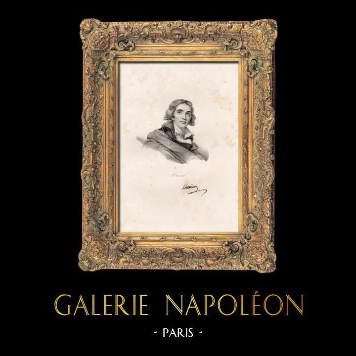Gravures Anciennes & Dessins | Portrait de André Chénier (1762-1794) - Poète Français | Lithographie | 1840