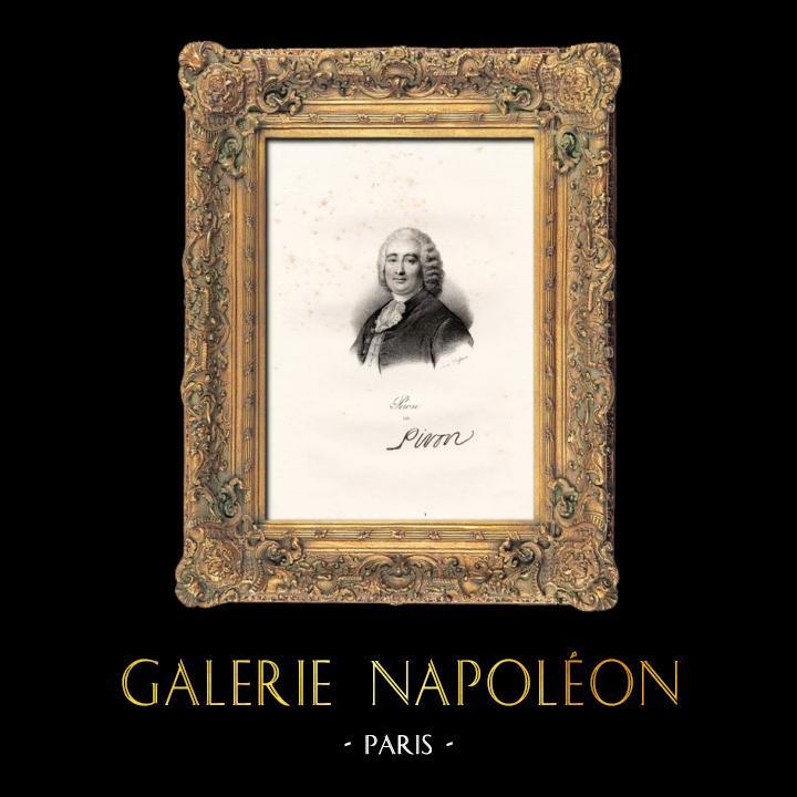Gravures Anciennes & Dessins   Portrait de Alexis Piron (1689-1773) - Poète Français - Dramaturge   Lithographie   1840