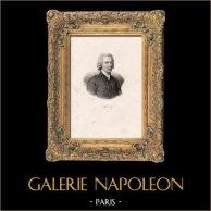 Ritratto di Gabriel Bonnot de Mably (1709-1785) - Abbé de Mably - Filosofo Francese - Scrittore | Litografia originale incisa da Delpech. 1840