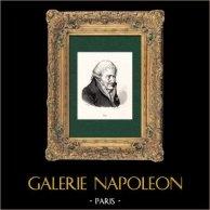 Portrait de François-Joseph Gossec (1734-1829) - Musicien - Compositeur Français   Gravure sur bois originale dessinée par Gierin, gravée par Lacoste. 1860