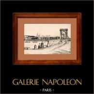 Vue d' Avignon - Palais des Papes (France) | Typogravure originale dessinée par A. Karl. 1880