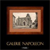 Vue d' Avignon - Le Thor - Eglise Sainte Marie au Lac (France) | Typogravure originale dessinée par A. Karl. 1880