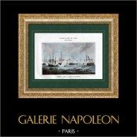 Guerres de la Révolution Française - Combat Naval - Espagne - Frégate - Baie d'Algésiras - Gibraltar - 6 Juillet 1801 | Typogravure originale de Boussod & Valadon d'après Morel Fatiot. 1893