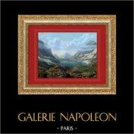 Daubensee - Col de la Gemmi - Alpes - Canton du Valais (Suisse) | Lithographie originale. Anonyme. Aquarellée à la main (coloris d'époque). 1840