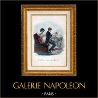 Romantic Scene - Musician - L'Entrée dans le Monde | Original lithograph drawn by Ch. Hubry, lithographed by Delpech. Original hand-colored. 1824
