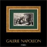 Campagna d'Egitto - Guerre Napoleoniche - Generale Kléber Ferito a Alessandria | Incisione xilografica originale incisa da Pannemaker. 1860