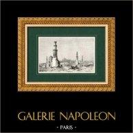 Vista do Cairo - Cidadela do Cairo - Necrópole (Egito) | Gravura em madeira original (xilogravura) desenhada por Karl Girardet, gravada por J. Gusmand. 1860