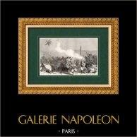 Campaña Napoleónica en Egipto - Imperio Otomano - Mamelucos - Batalla de Heliópolis - Guerras Napoleónicas - 1800 | Original grabado en madera (xilografía) dibujado por Ligny, grabado por Pannemaker. 1860