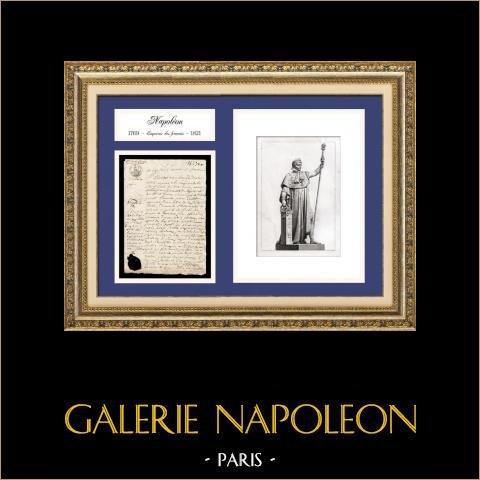Documento Storico - Regno di Napoleone I - 1808 - Primo Impero Francese | Documento manoscritto datato del 1 maggio 1808 ed Ritratto di Napoleone, incisione su acciaio originale disegnata in 1840