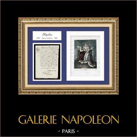 Documento Storico - Regno di Napoleone Bonaparte - Consolato - 1803 - Acquisto della Louisiana | Documento manoscritto datato del 18 maggio 1803 (28 Floréal, Anno XI della Repubblica) ed Ritratto di Napoleone, Litografia originale.