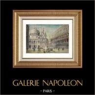 Vue de Venise - Palais des Doges - Palais Ducal - Escalier des Géants (Italie)   Gravure sur bois originale. Anonyme. Aquarellée à la main. 1877