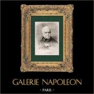 Retrato de Adolphe Thiers (1797-1877) - Presidente de la República Francesa | Original acero grabado grabado por G. Staal. 1872