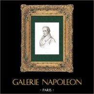 Portrait de Charles Joseph Colnet Du Ravel (1768-1832) - Ecrivain Français - Journaliste - Poète | Gravure sur acier originale. Anonyme. 1840