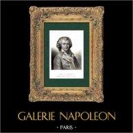 Ritratto di Fabre d'Églantine (1750-1794) - Attore - Politico Francese - Rivoluzione Francese - Ghigliottina | Incisione su acciaio originale incisa da Gavard. 1840