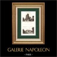Paysage de Picardie (France) - Collégiale Saint-Vulfran d'Abbeville - Château d'Heilly | Gravure sur acier originale dessinée par Dulhort, gravée par Couché. 1838