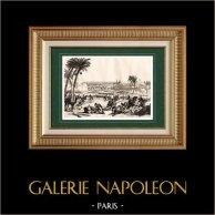 Guerre Napoleoniche - La Battaglia di Abukir - La Battaglia del Nilo - Egitto (1798) | Incisione su acciaio originale disegnata da Martinet, incisa da Couché. 1838