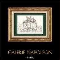 Fuente de Elefante - Bastilla - Paris - Proyecto de Napoleón | Original acero grabado. Anónimo. 1838