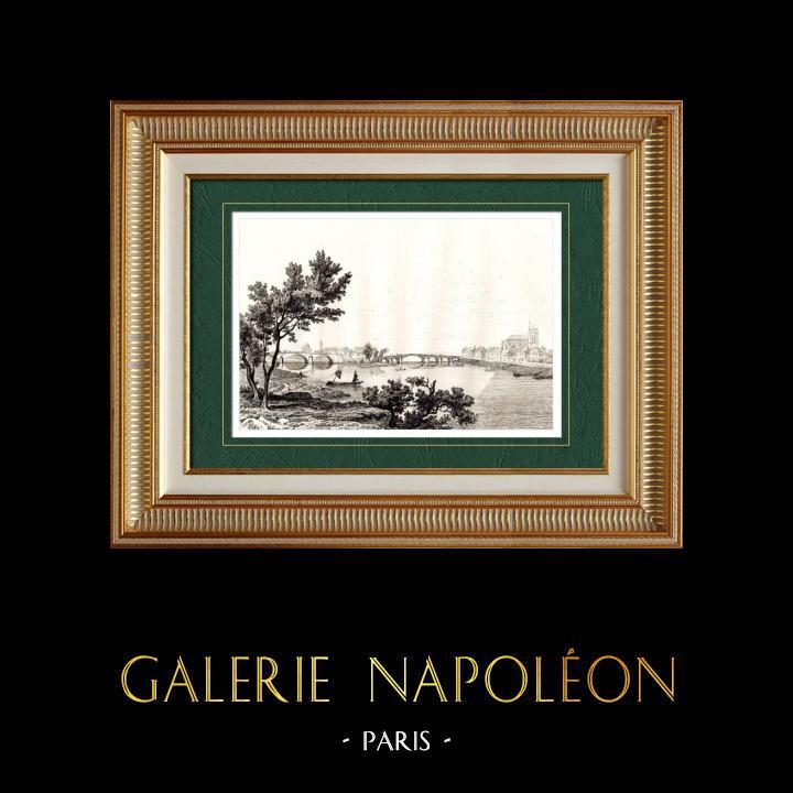 Antique Prints & Drawings | View of Montereau - Seine-et-Marne (France) - Montereau-Fault-Yonne - Napoleonic Wars | Intaglio print | 1838