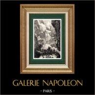 Alperna - Simplonpasset - Napoleon Bonaparte | Original stålstick efter teckningar av Martinet, graverade av Lacauchie. 1838