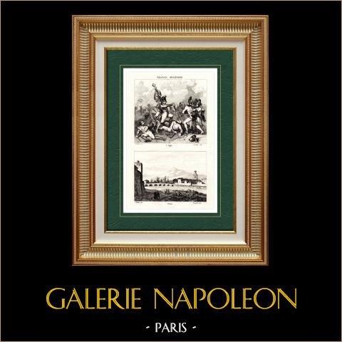 Veduta di Parma (Italia) - Aquila di Napoleone | Incisione su acciaio originale disegnata da Martinet, Buttura, incisa da Lacauchie. 1838
