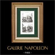 Vandea (Francia) - Tradizione - Truppa | Incisione su acciaio originale disegnata da Roland - Martinet, incisa da Masson - Lacauchie. 1838
