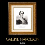Portrait de Jean-Baptiste Eblé (1758-1812) - Général d'Empire Français - Guerres napoléoniennes   Gravure sur acier originale. Anonyme. 1850