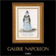 Portrait de Marguerite de Lorraine (1615-1672) | Gravure sur acier originale dessinée par Lanté, gravée par Gatine. Aquarellée à la main (coloris d'époque). 1850