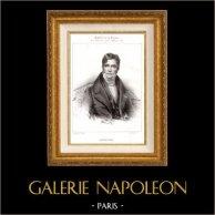 Portrait de Gaspare Spontini (1774-1851) - Compositeur Italien   Lithographie originale dessinée par Julien. 1850