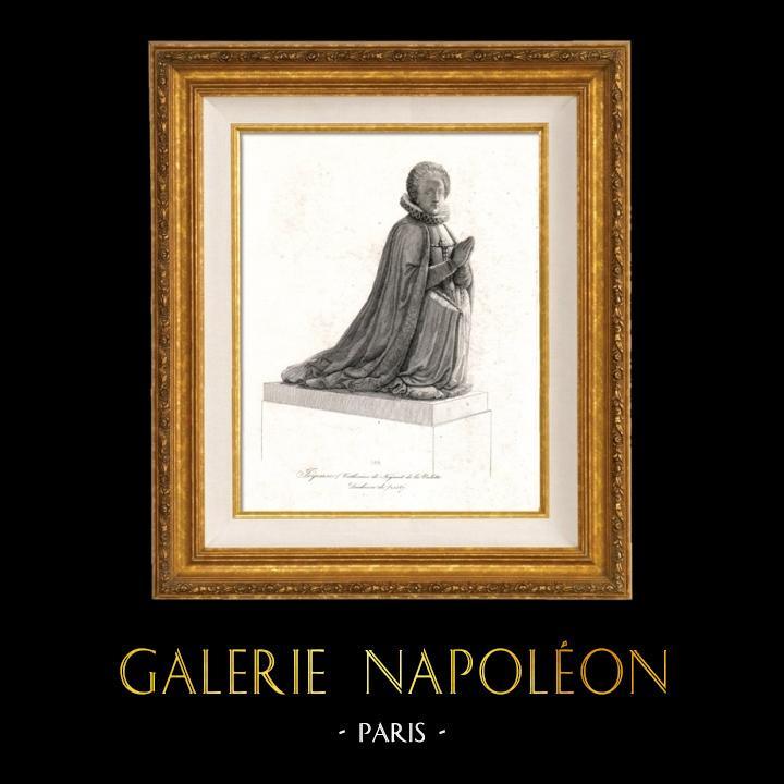 Gravures Anciennes & Dessins   Portrait de Catherine de Nogaret de la Valette (?-1587) - Epouse de Henri de Joyeuse (1563-1608)   Taille-douce   1850
