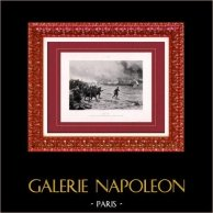 Peinture - Exposition 1888 - Paul Léon Jazet (1848-1918) - Trêves entrant dans Paris (Mai 1871) - Commune de Paris   Héliogravure originale d'après Paul Léon Jazet. 1888