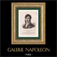 Portrait de Michel Marie Claparède (1770-1842) - Général Français - Pair de France | Lithographie originale lithographiée par Villain. Chine-collé. 1835
