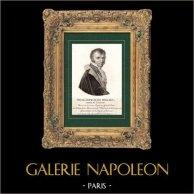 Portrait de Nicolas François Mollien (1758-1850) - Homme Politique Français - Pair de France | Gravure sur cuivre originale dessinée par Mme de Noireterre. 1814