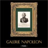 Portrait de Pierre Riel de Beurnonville (1752-1821) - Maréchal de France - Guerres napoléoniennes - Pair de France | Gravure sur cuivre originale dessinée par Mme de Noireterre. 1814
