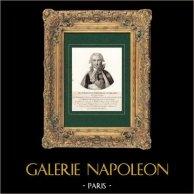 Portrait de Jean-Baptiste Nompère de Champagny (1756-1834) - Homme Politique Français - Pair de France | Gravure sur cuivre originale dessinée par Mme de Noireterre & Velyn. 1814