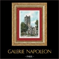 Vue de Saint-Omer - Nord-Pas-de-Calais (France) - Abbaye de Saint Bertin - Tour | Lithographie originale lithographiée par Barday. Signée. 1940