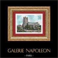 Vue de Saint-Omer - Nord-Pas-de-Calais (France) - Cathédrale Notre-Dame | Lithographie originale lithographiée par Barday. Signée. 1940