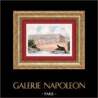 Vue de Versailles - Ile de France (France) - Château de Versailles - Façade Coté Jardin | Lithographie originale lithographiée par G.A. Dumarais. Signée. 1940