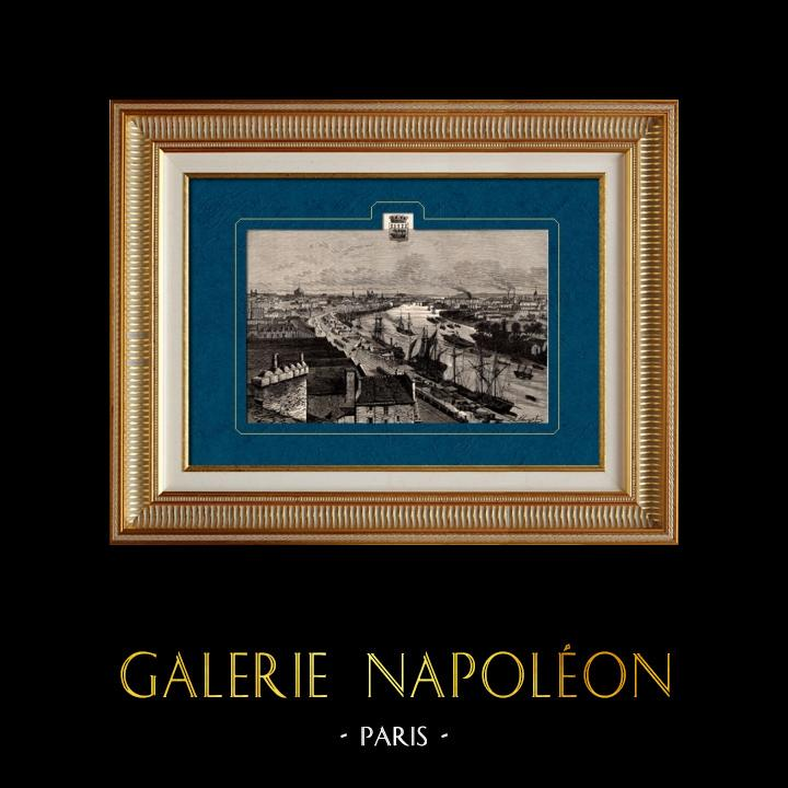 Antique Prints & Drawings | View of Nantes - Loire-Atlantique (France) | Wood engraving | 1881