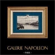Vista de Paris - Muelles del Sena (Francia) | Original grabado en madera (xilografía) dibujado por Hubert Clerget, grabado por Barbant. 1881
