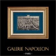 Vue Aérienne de Paris (France) - Arc de triomphe de l'Étoile | Gravure sur bois originale dessinée par Hubert Clerget, gravée par Navellier-Marie. 1881